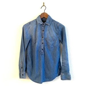 J Crew Chambray Shirt Long Sleeve Half Button Up
